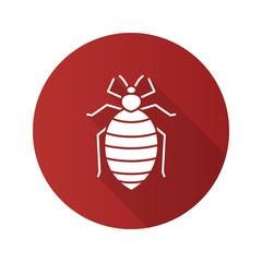 Bed bug flat design long shadow glyph icon