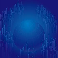 コンピュータ回路 配線ランドと球体のイメージ