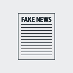 Icono plano FAKE NEWS en papel en fondo gris