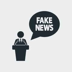 Icono plano mensaje FAKE NEWS con orador en fondo gris