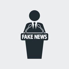 Icono plano orador con FAKE NEWS en fondo gris