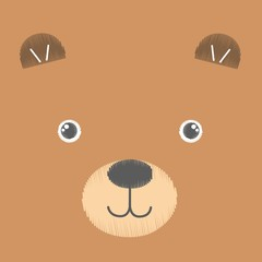 Vector illustration of embroidery of brown toy teddy bear. Baby kawaii anime smiling face isolated on an empty background. Sketch, hand drawn imitation. Can be used as card, poster, print for t-shirt