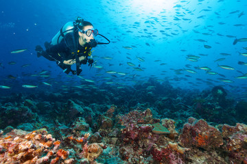 Young woman scuba diver exploring coral reef