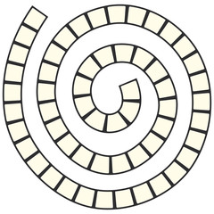 Abstract futuristic spiral maze, pattern template for children's games, squares Black contour isolated on white background. Vector