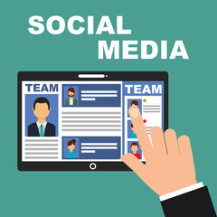 hand touch screen tablet team social media vector illustration