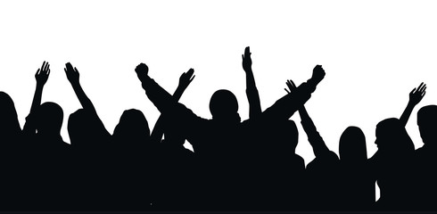 Black vector silhouette of cheering crowd isolated on white background - festival, sport, party
