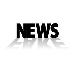 Icono plano NEWS en negro con reflejo FAKE en gris