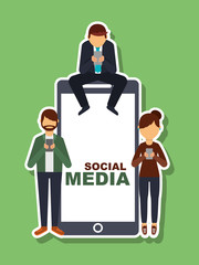 people using mobile phone and big smartphone social media vector illustration