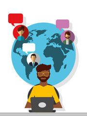 afroamerican man working laptop world people communication vector illustration