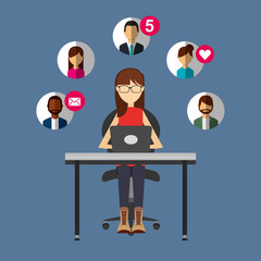 woman talking with laptop in desk people social media vector illustration