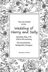 Vintage wedding invitation. Hand drawn vector meadow flowers and roses. Black and white illustration.