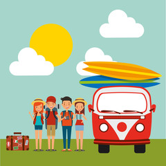 group tourists baggage and retro van surfing boards sky sun