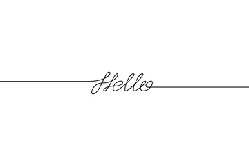 HELLO handwritten inscription. Hand drawn lettering. alligraphy. One line drawing of phrase Vector illustration