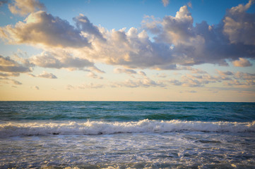 Colored Twilight on a Beach of Cefalu