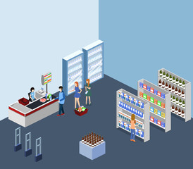 Isometric 3D illustration concept of a grocery store with buyers and cashier