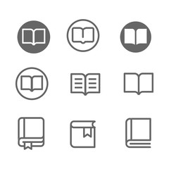 Book Vector line icon set.