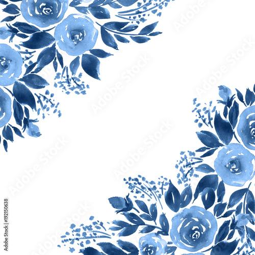 u0026quot indigo blue watercolor roses  monochrome floral template