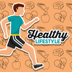 healthy lifestyle card man runner sport vector illustration