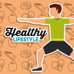 healthy lifestyle man stretching training sport icons background vector illustration