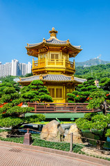 Golden Pavilion of absolute perfection in Nan Lian Garden in Chi Lin Nunnery, Hong Kong