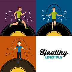 healthy lifestyle set people athletic sport with music vector illustration