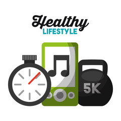 stopwatch mp3 and sport weight healthy lifestyle vector illustration