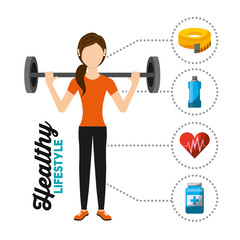 sport woman training lifting weight healthy lifestyle vector illustration