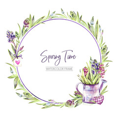 Hand painted round frame with Hyacinths flowers, leaves and watering can. Spring rustic watercolor illustration in violet shades. Horticulture hobby. Can be used for a poster, wedding desings.