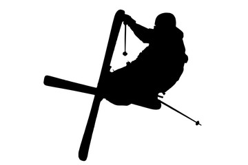 jumping slopestyle skier - vector