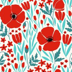 Obraz Seamless pattern with red poppy flowers - fototapety do salonu