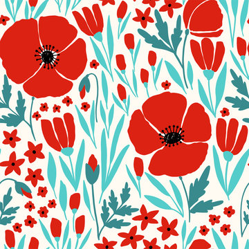 Seamless pattern with red poppy flowers