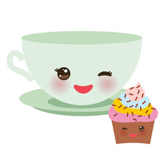 Cute green Kawai cup, cupcake isolated on white background. Vector