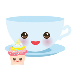Cute light blue Kawai cup, cupcake isolated on white background. Vector
