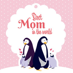 Happy mothers day penguin cartoon