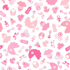 Seamless Baby Pattern Symbols Girl Rose