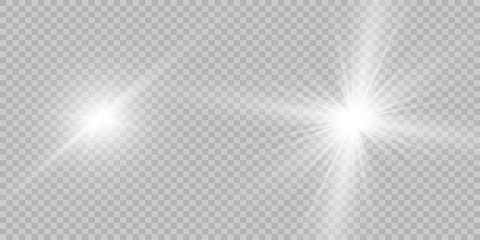 Vector illustration of abstract flare light rays. A set of stars, light and radiance, rays and brightness.