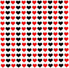 A lot of black and red hearts on a white background.