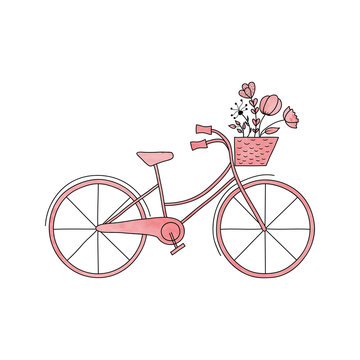 Watercolor pink vector  bike with basket and flowers
