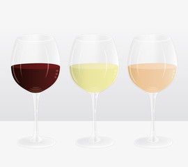 Three wine glasses filled with red, white and rosé wine. Vector marketing presentation.