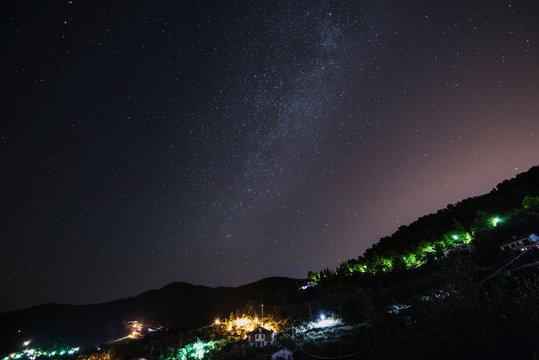 Stunning milky way night photo in Seborga princedom, Italy, long exposure image