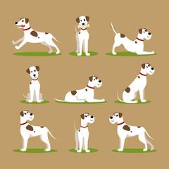 Cartoon Color Funny Puppy Icons Set. Vector
