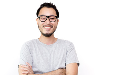 Closeup portrait of happy asian man face, isolated on white background with copy space. Wall mural