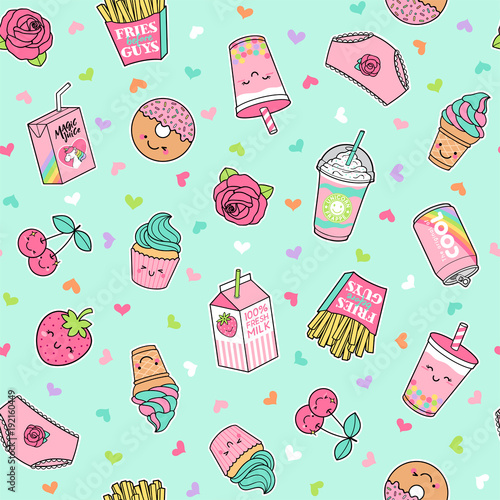 """Fotolip Com Rich Image And Wallpaper: """"Cute Pastel Foods Patches Seamless Pattern With Heart"""