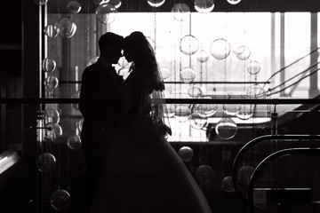 Silhouette of the bride and groom on the window background. Glass balls. Wedding.