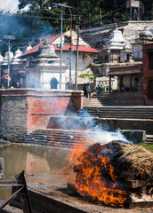 remation ceremony at Pashupatinath temple on the Bagmati River.