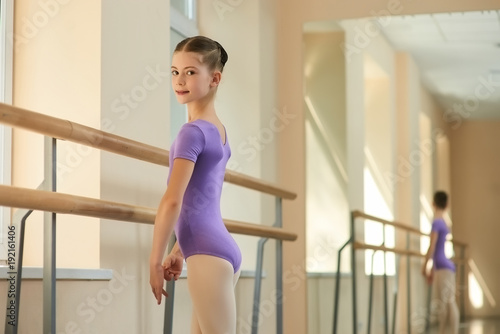 c377dc3c0 Close up portrait of young ballerina at class. Beautiful young ...