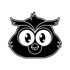 silhouette owl head cute animal character