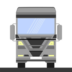 Grey Container Truck Icon on White Background. Front View. Cargo Delivery. Car Eurotrucks Delivering Vehicle