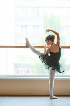 Young ballet performer training at class. Cute little ballerina in black leotard doing exercise at ballet barre in studio, back view.