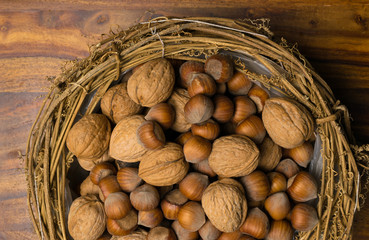hazelnuts and walnuts background